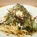 Squid and tarako oil pasta using homemade lemon butter